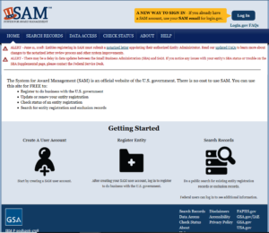Screenshot of sam.gov