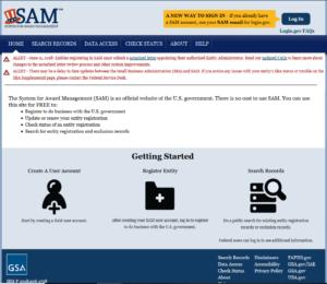 Screenshot of sam.gov